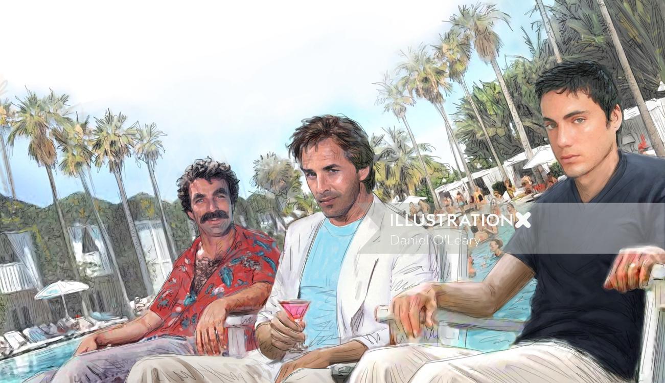 Celebrities at resort pool