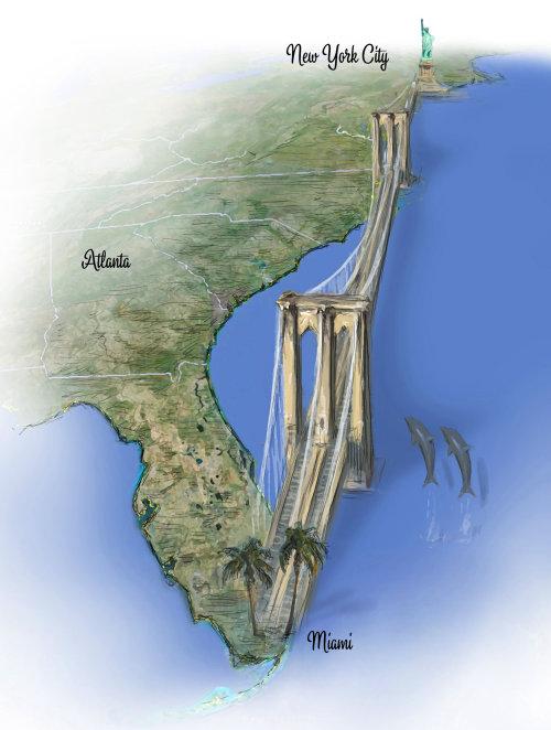 Mapa del puente de Nueva York a Miami