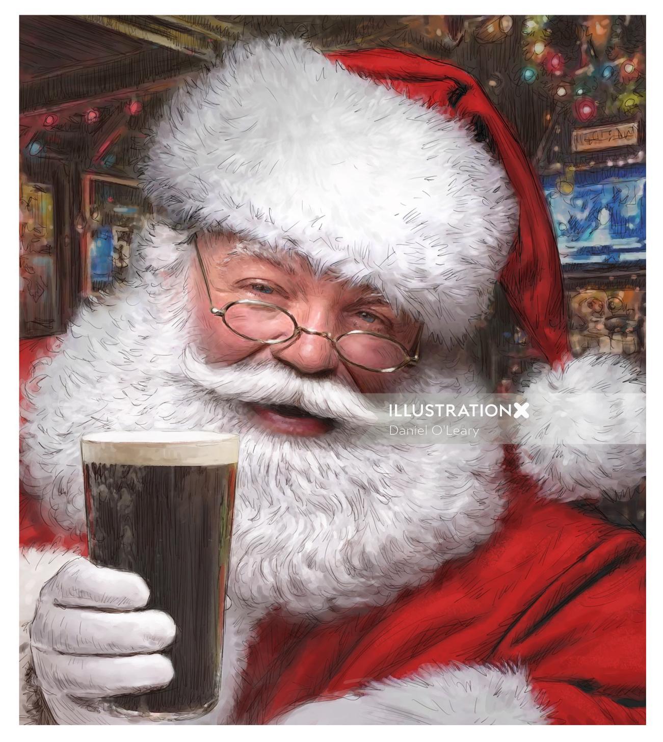 Santaclaus having a pint