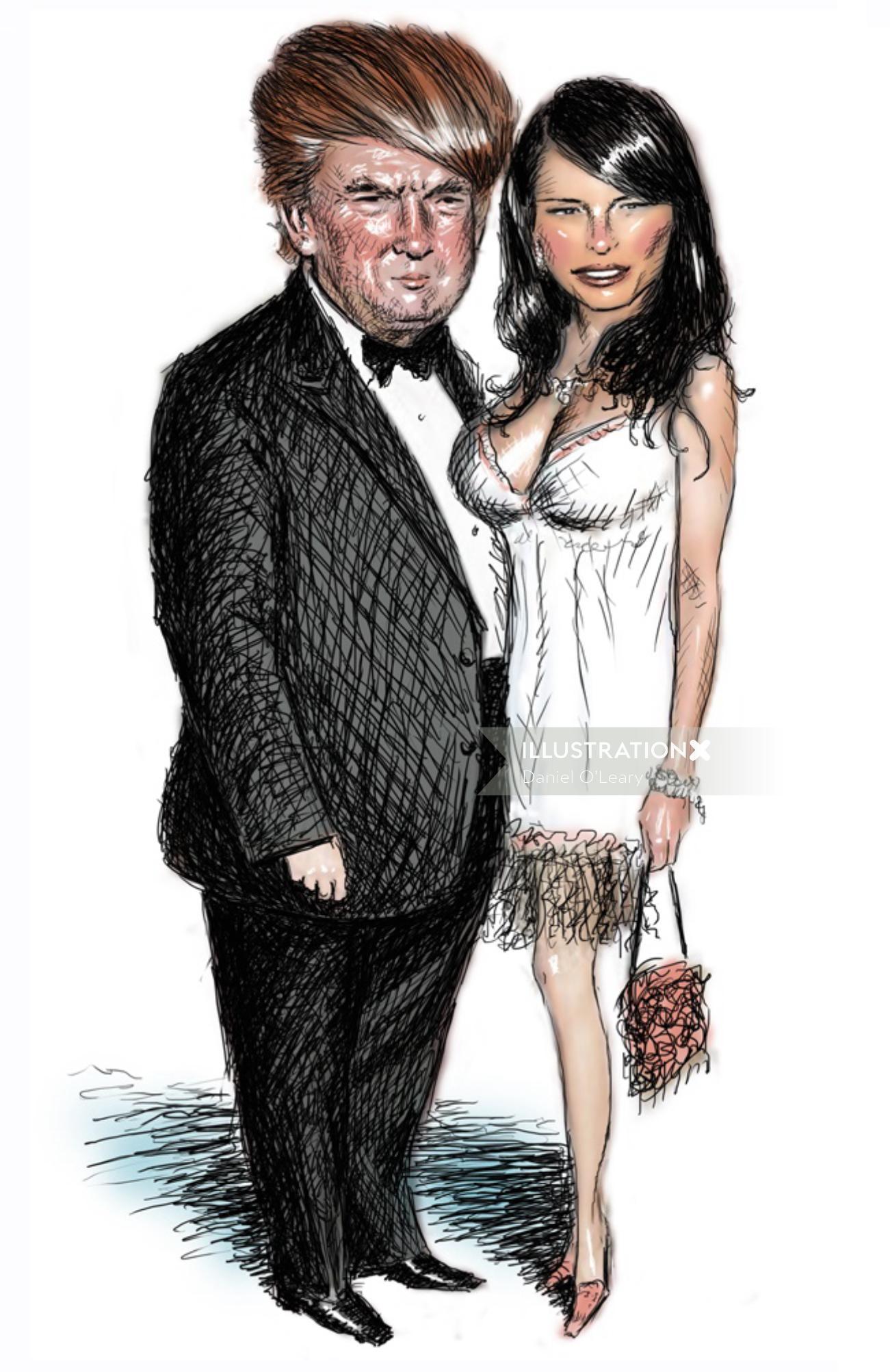 Trump, Melania, US President cartoon and humour