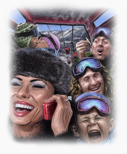 Conceptual cartoon and humour Skiing