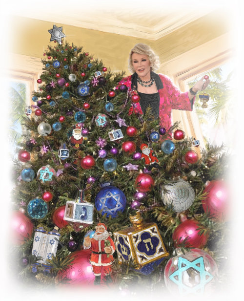 Celebrities decorating christmas tree
