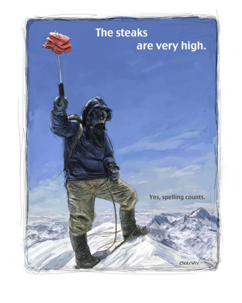 Steaks are very high Mountain climber