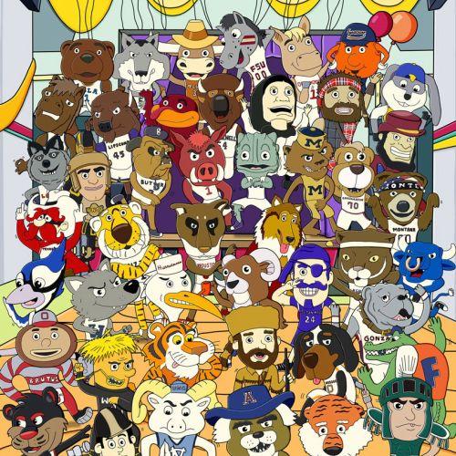 Character Illustration of NCAA Mascots