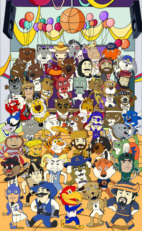 Character Illustration of NCAA Mascots