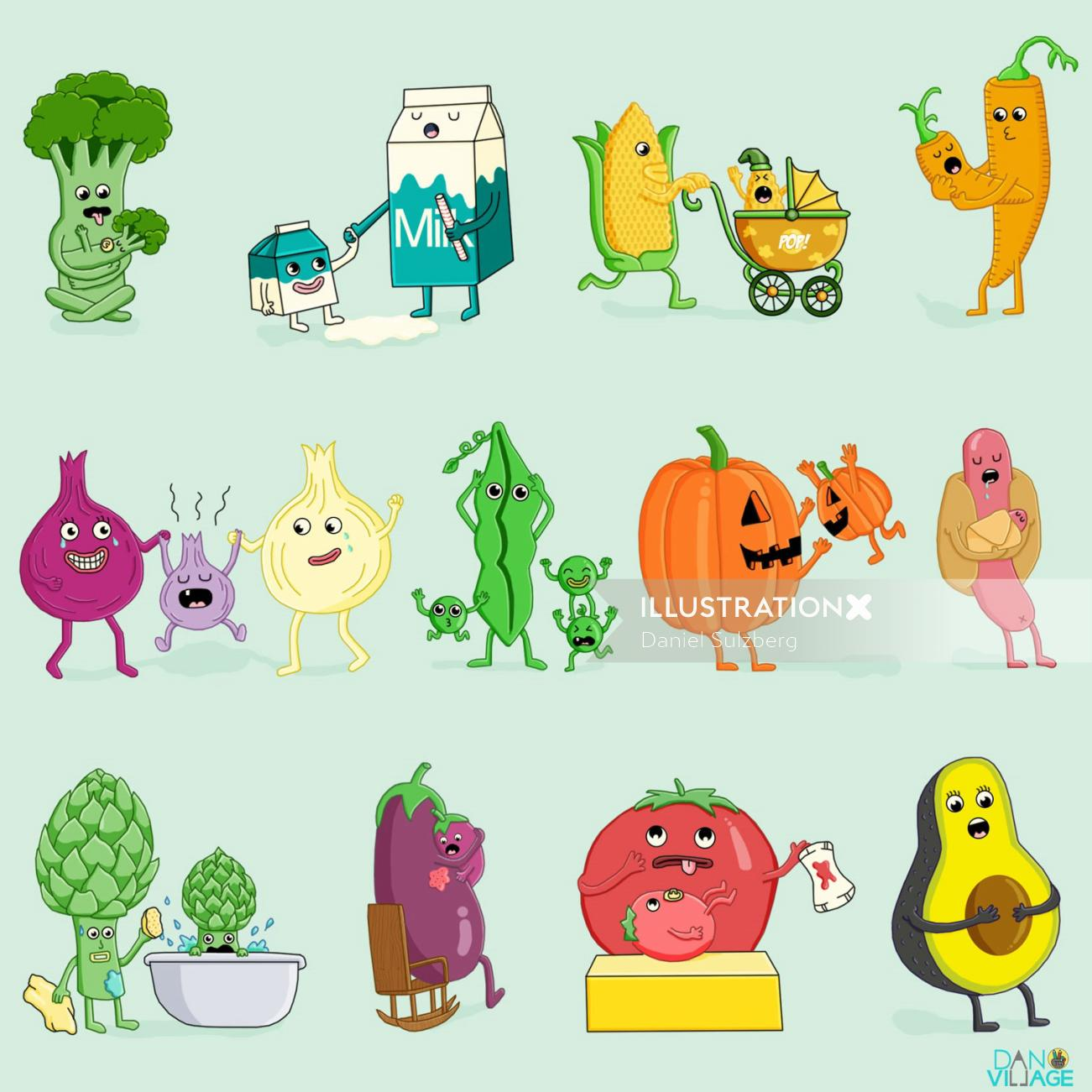 Cartoon illustration of vegetables and baby veggies