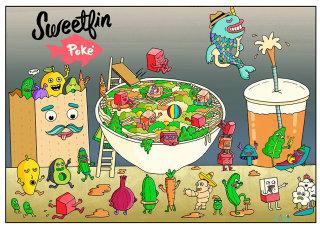 Food & Drink Illustration For Sweetfin Poke