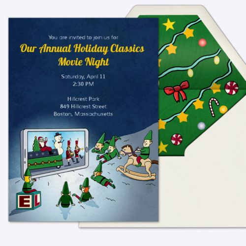 Christmas Holiday Invitation Card Design For Evite
