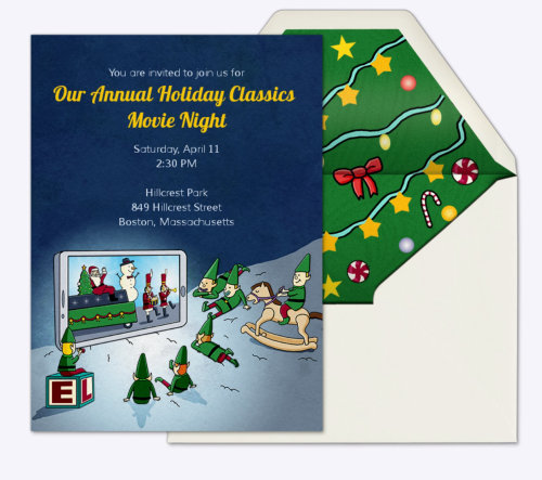 Christmas Holiday Invitation Card Design For Evite