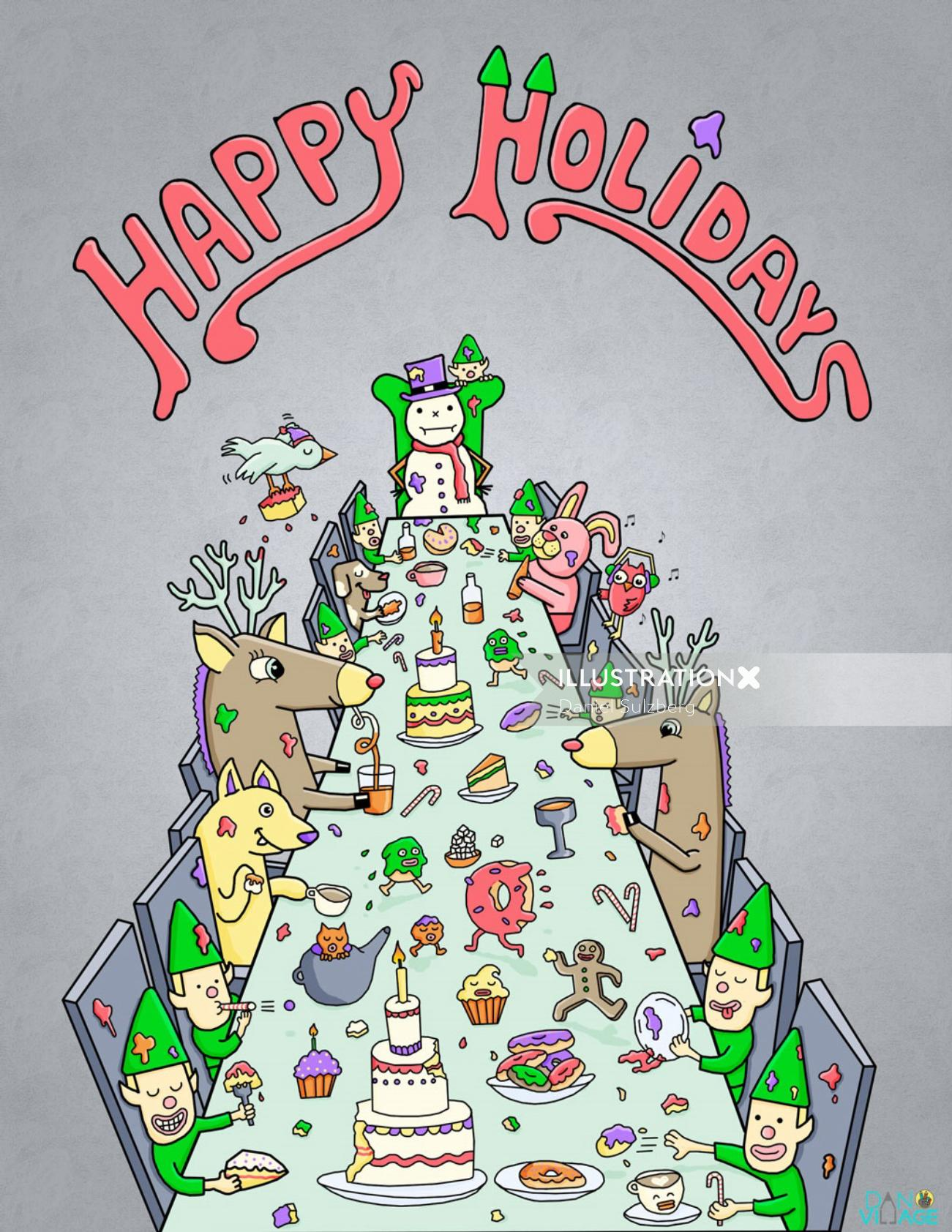Happy Holidays Meal children digital art