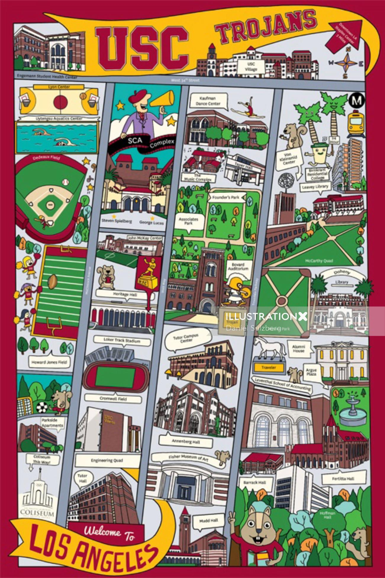 USC Map Guide for Kids showing Park, Coliseum and Museum