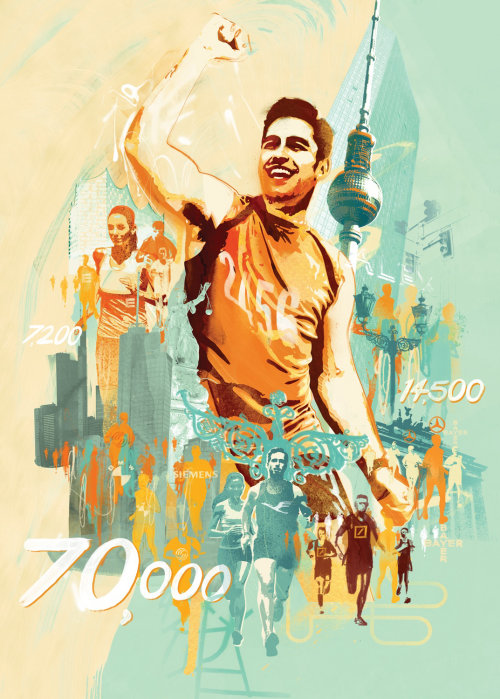 Sports illustration for running and marathon