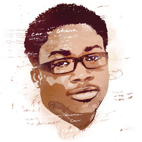 portrait, stencil, graffiti, man, male, face, spot illustration, glasses, african american,
