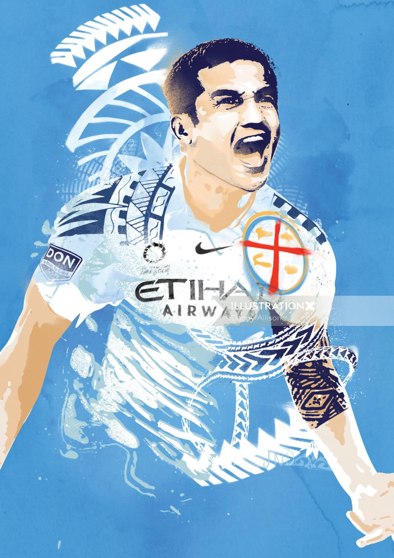 Graphic illustration of Tim Cahill