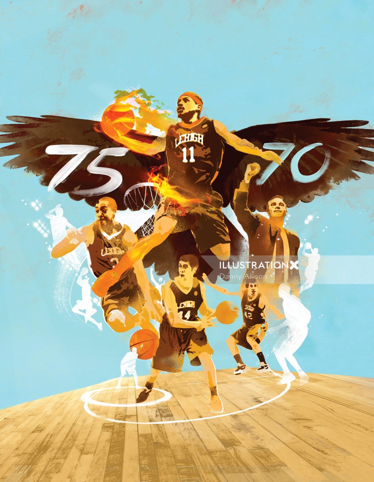 Editorial illustration for 2017 lehigh basketball team's year book