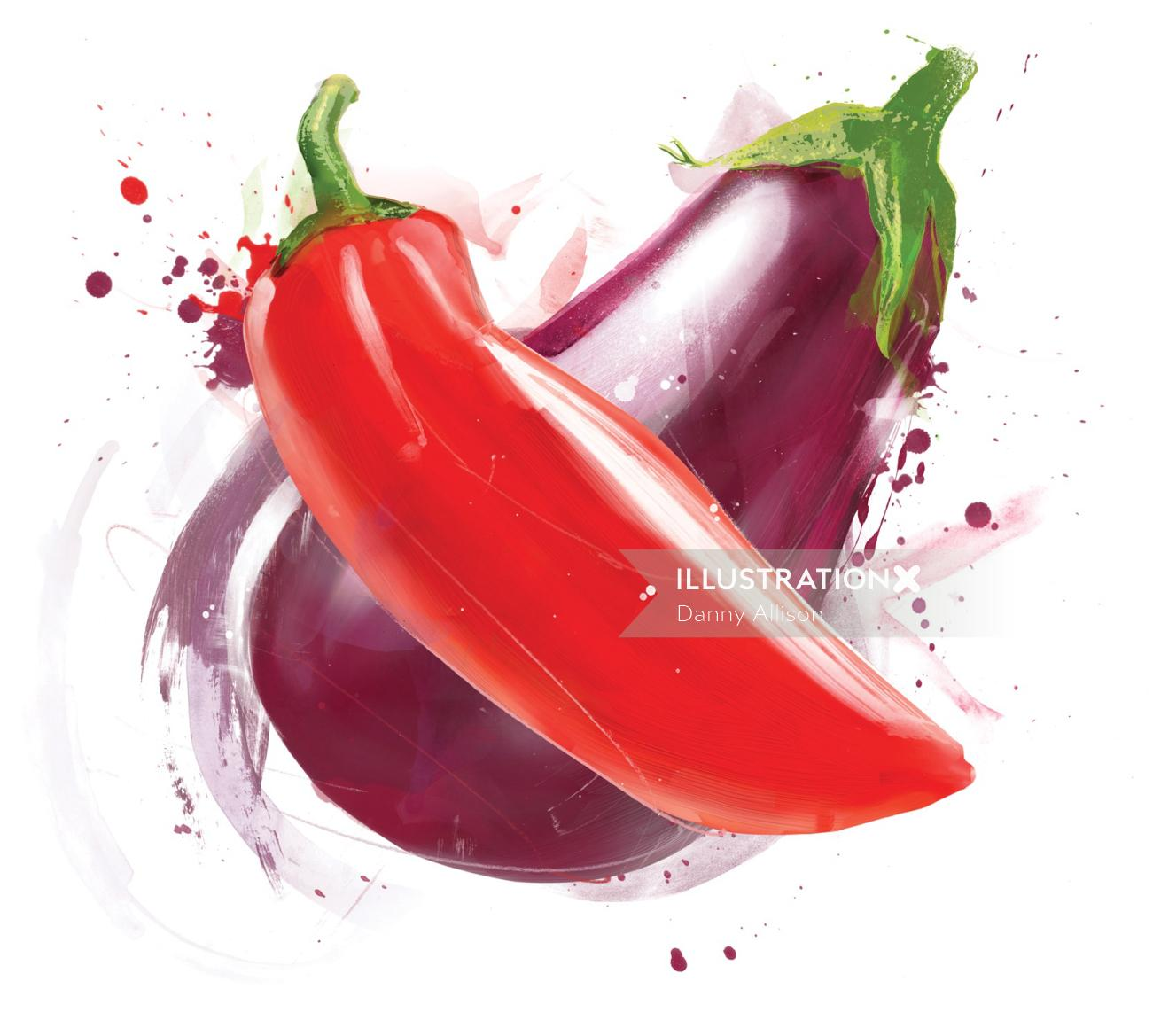 Water color of Eggplant and Red Mirchi