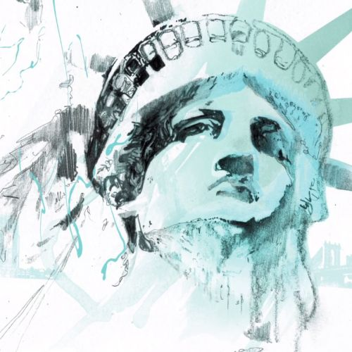 Beautiful Travel Illustration of The statue of liberty
