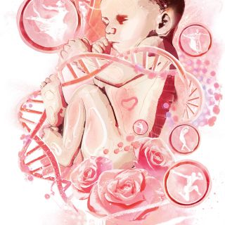 Medical illustration of baby wrapped in 3d DNA helix