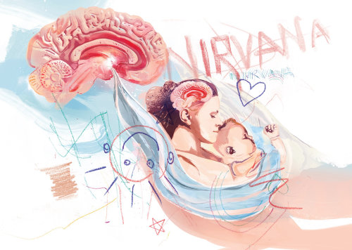 Self initiated medical illustration about mother and baby girl