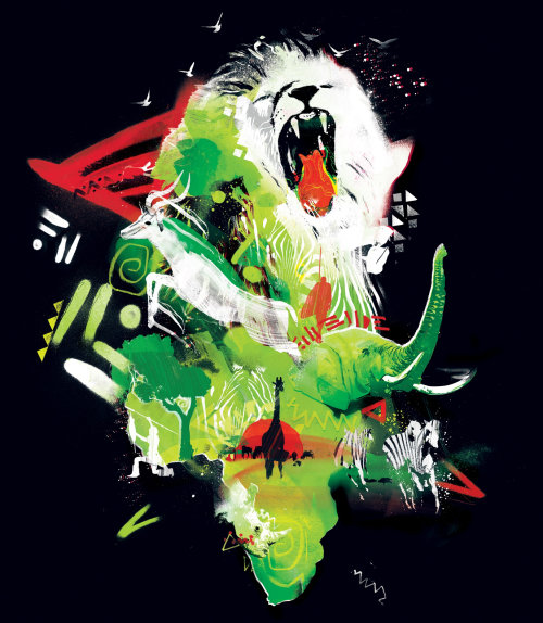 lion, animal, zoo, wild, elephant, green, african, surreal, modern, graffiti, spray paint, rough, mo
