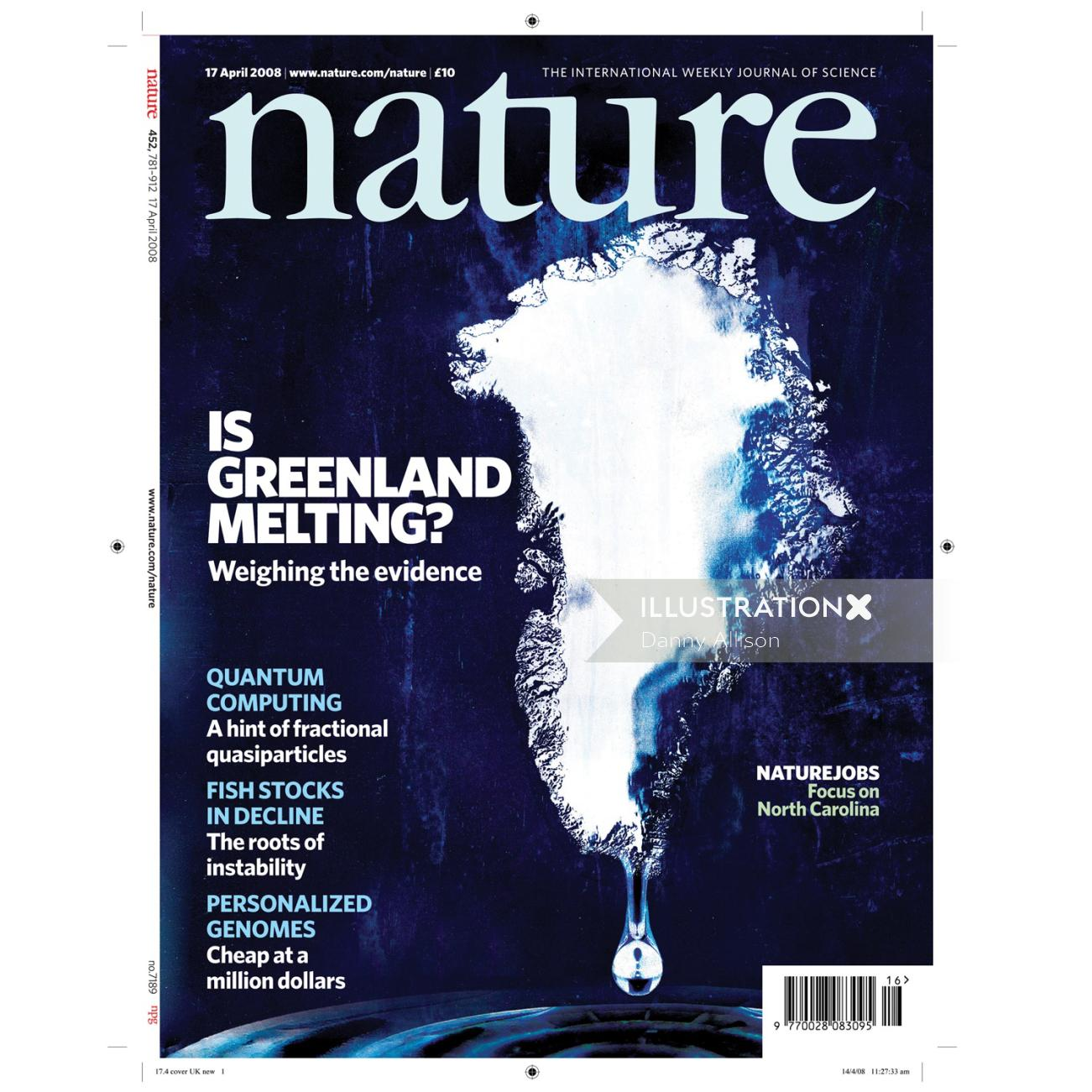 Is Green Melting text in the background, magazine cover, blue background
