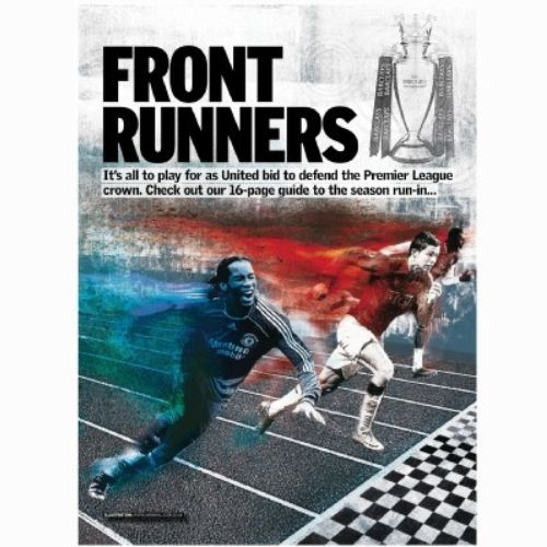 Front Runners Text, Magazine Cover, Sportsman Running, finishing line