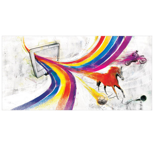 Motion Graphic display, Colorful line all over, horses running