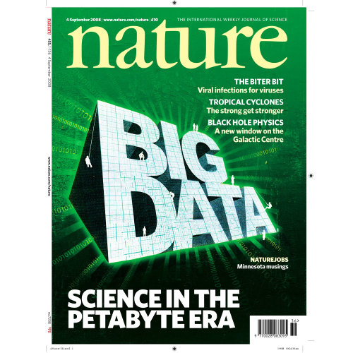 Nature big data text on green background, magazine page, barcode on the bottom
