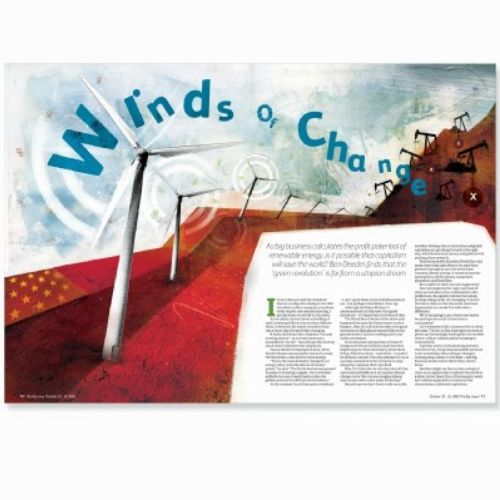 wind mill magazine, text in blue color, description on the paper
