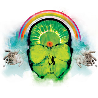 Green human brain, persons head with closed eyes, rainbow in the sky, cloud in the background