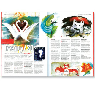 magazine papers with text composed, colorful images on white background, white swans in water