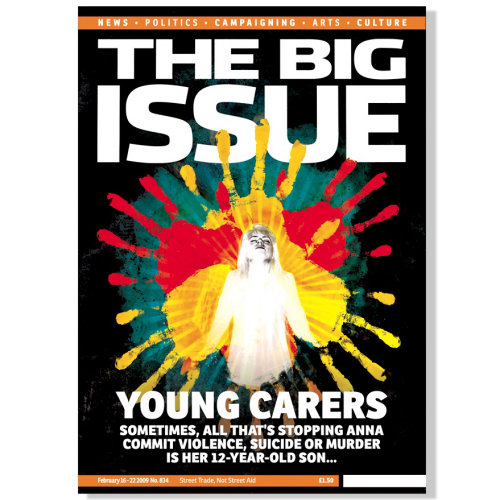 The Big Issue Magazine cover, Helping Children symbol on the page