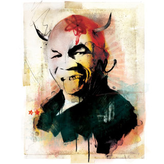 Mike tyson drawing, man with bald hair, devil face, black shirt