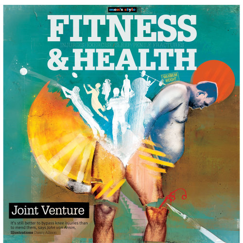 Fitness & Health text, Magazine cover, man standing