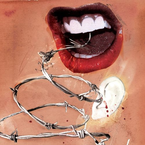 Dental, Teeth with red lips, Lipstick, Barb wire in the mouth