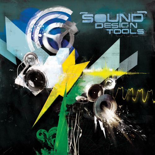 Sound Tools Text, magazine cover, image collage, music waves