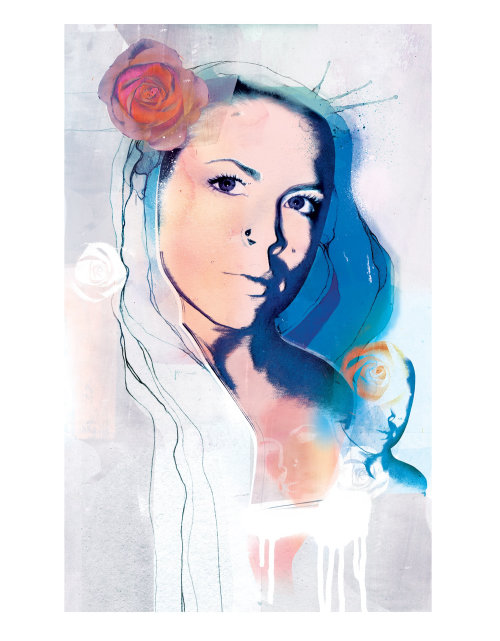 woman, fashion, fashion illustration, beauty, beautiful, advertising, rose, young