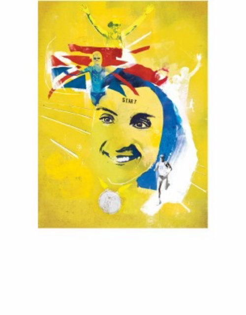 Yellow background pattern, UK flag, Girl in the background, Victory symbol