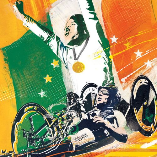 Para Olympics, Man on wheel chair enjoying Victory, Gold medal