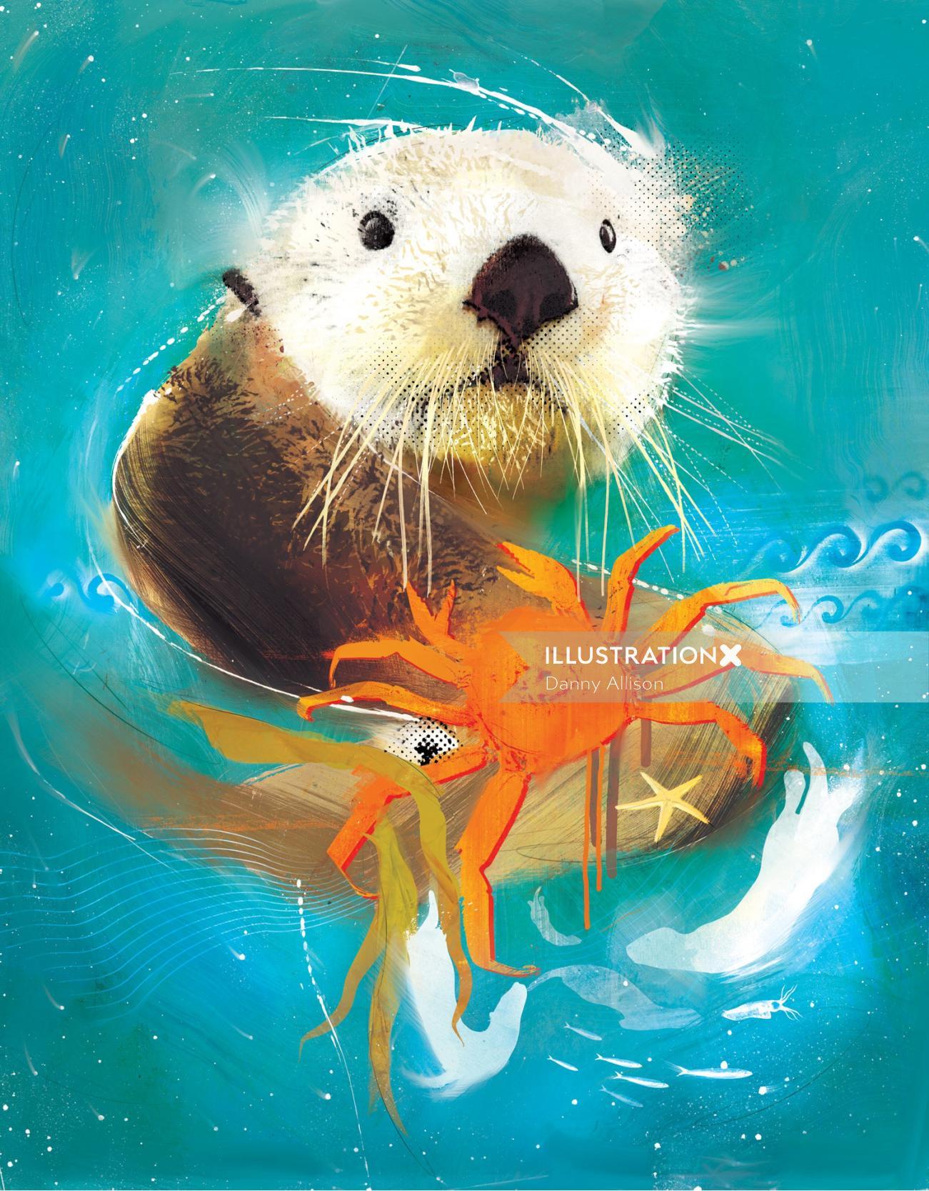 otter crab sealife hunting seal waves water ocean
