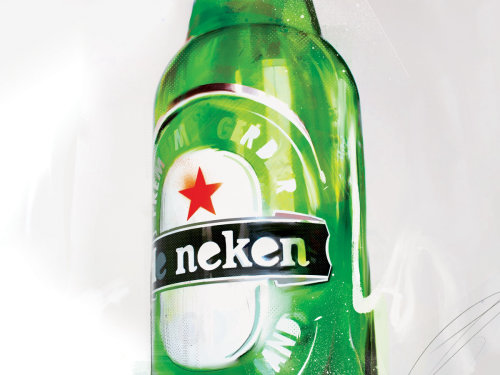 branding advert beer Heineken alcohol packaging label beer bottle