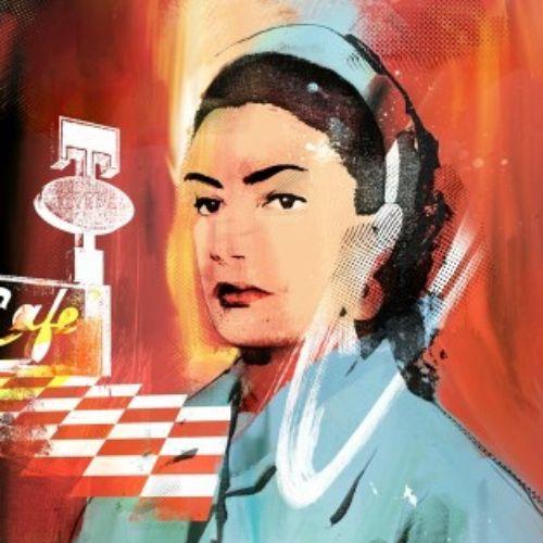twin peaks, shelly, portrait, painterly, Nurse, Checks floor, girl watching, cafe, movie, cinema