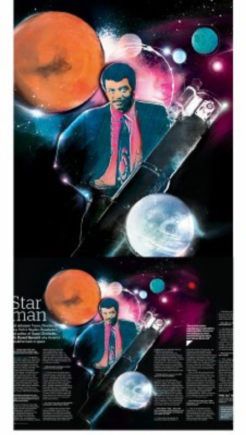 Man with suit, big pen, planets, space, stars, scientist, telescope,
