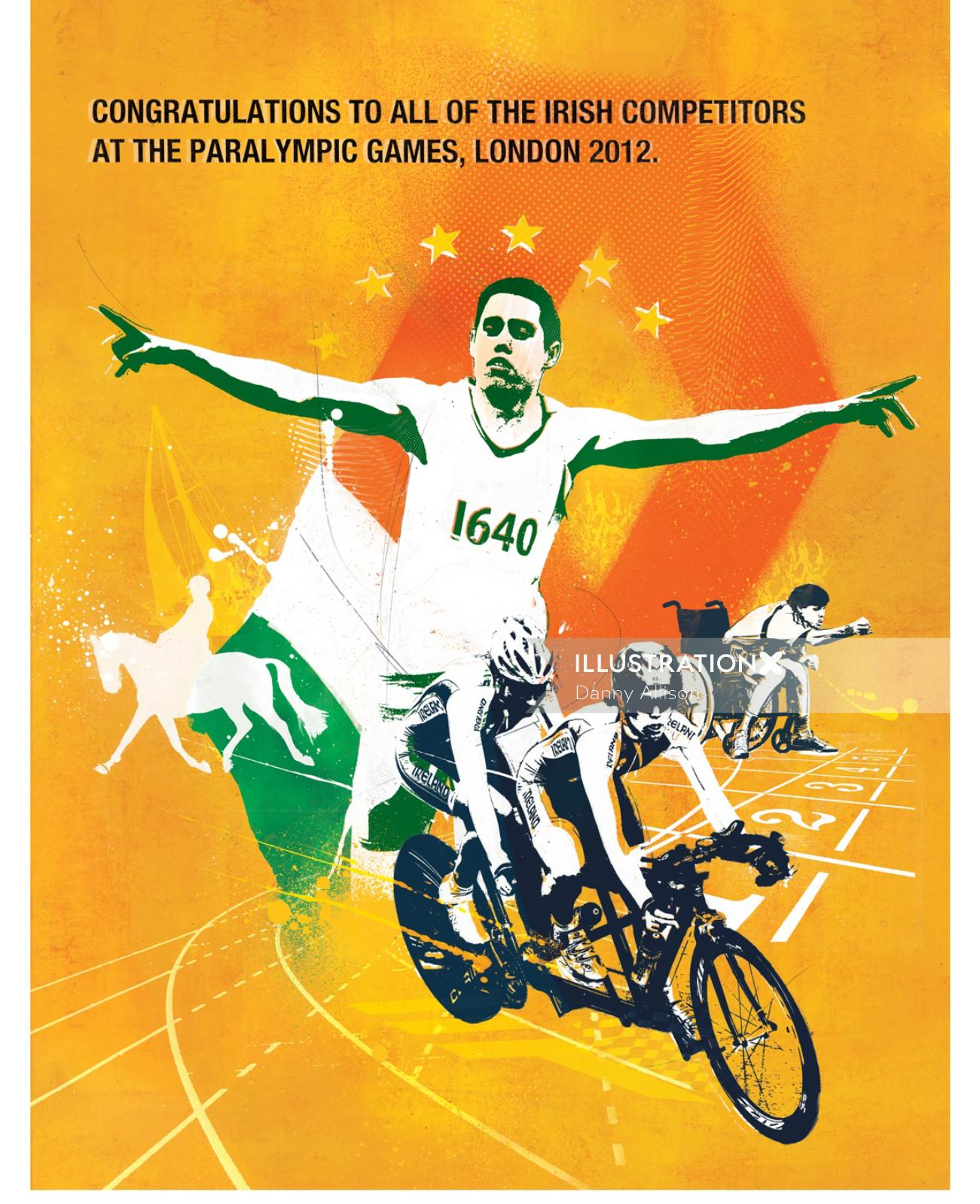 london, paralympics, disability, advertising, sport, Olympics, Cycling, FLags in the background