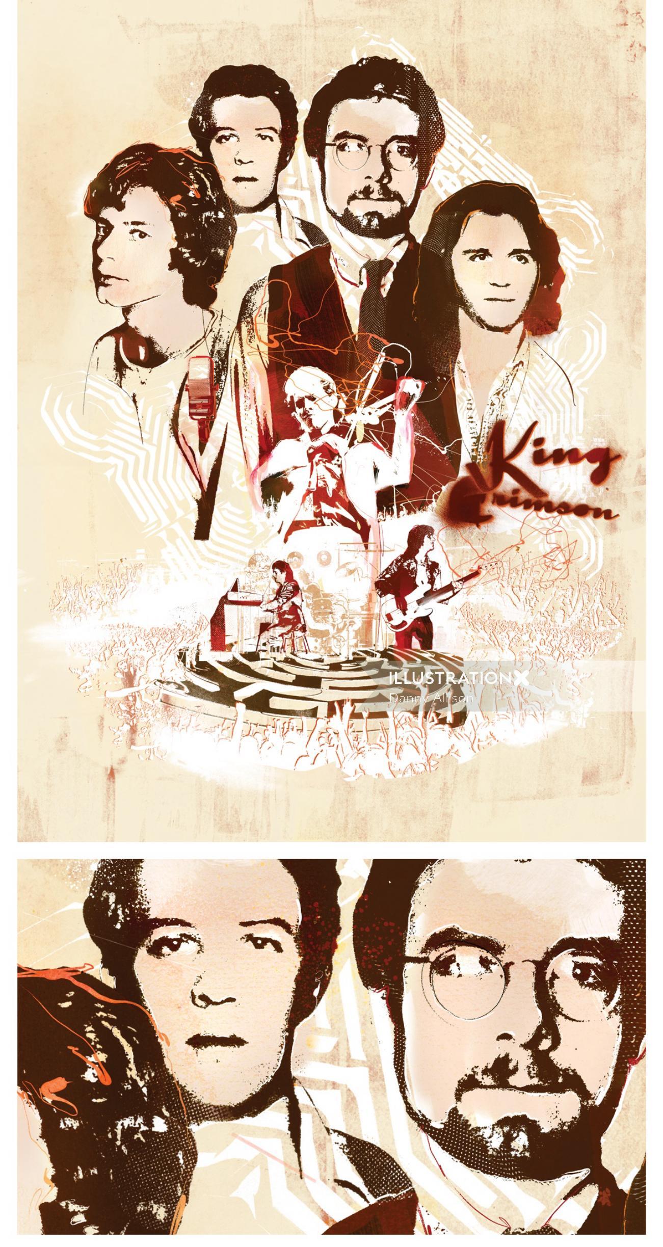 king crimson retro music 60s vintage psychedelic band sepia past rock poeple portrait