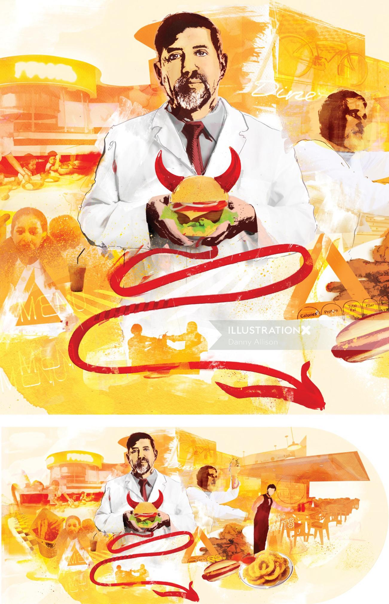 fast food, buger, food, burgers, devil, portrait, eat, horn,