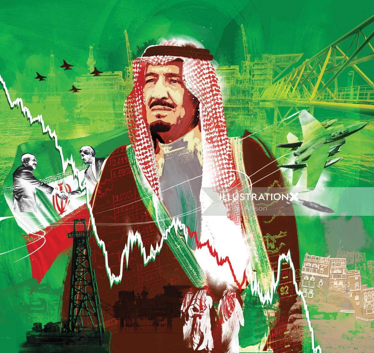 king Salman portrait oil price middle east portrait yemen bombing war uae mecca audi  iraq iran