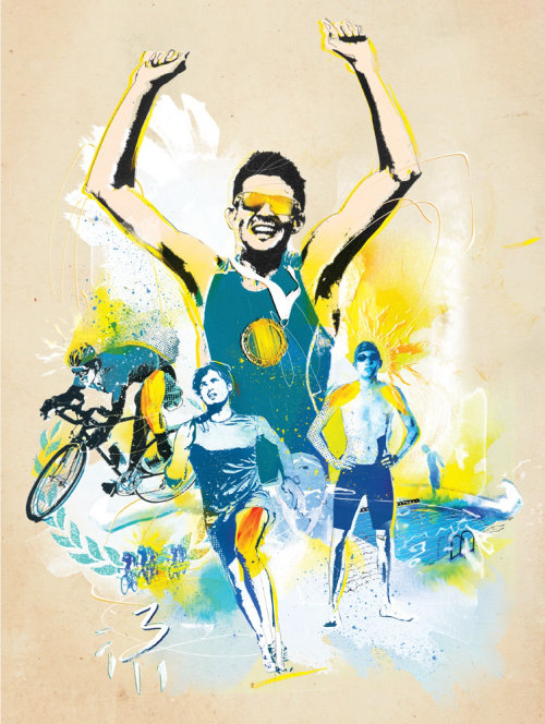 Sport triathalon illustration by Danny Allison