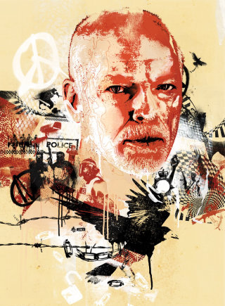 david gilmour pink floyd portrait illustration street style graffiti editorial prog banksy