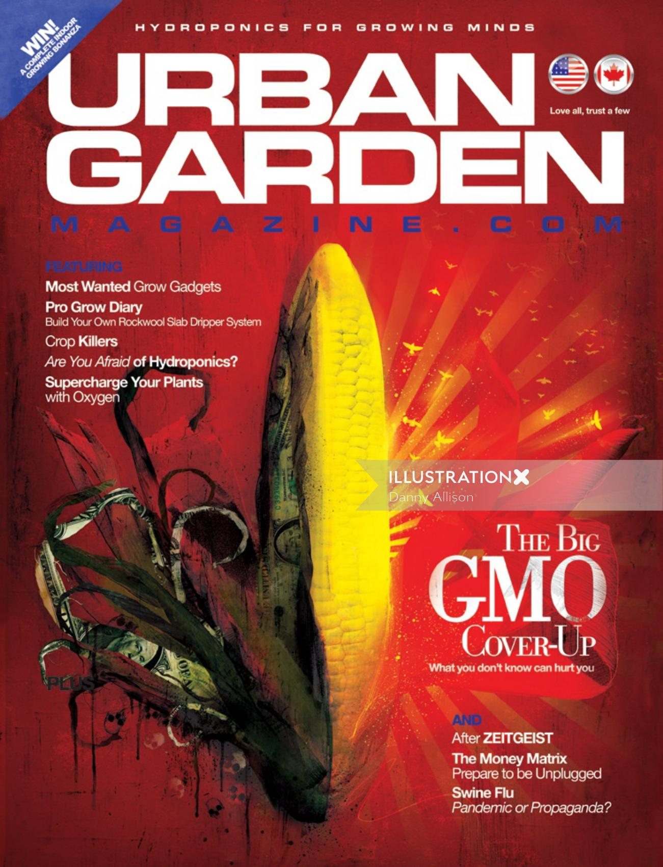 GMO Cover Up, Magazine cover, Text in the background, Red color pattern